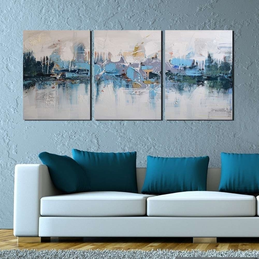 "Modern Abstract Oil Painting ""Blue Villages"" 3 Piece Gallery Wrapped Wall Art On Canvas For"