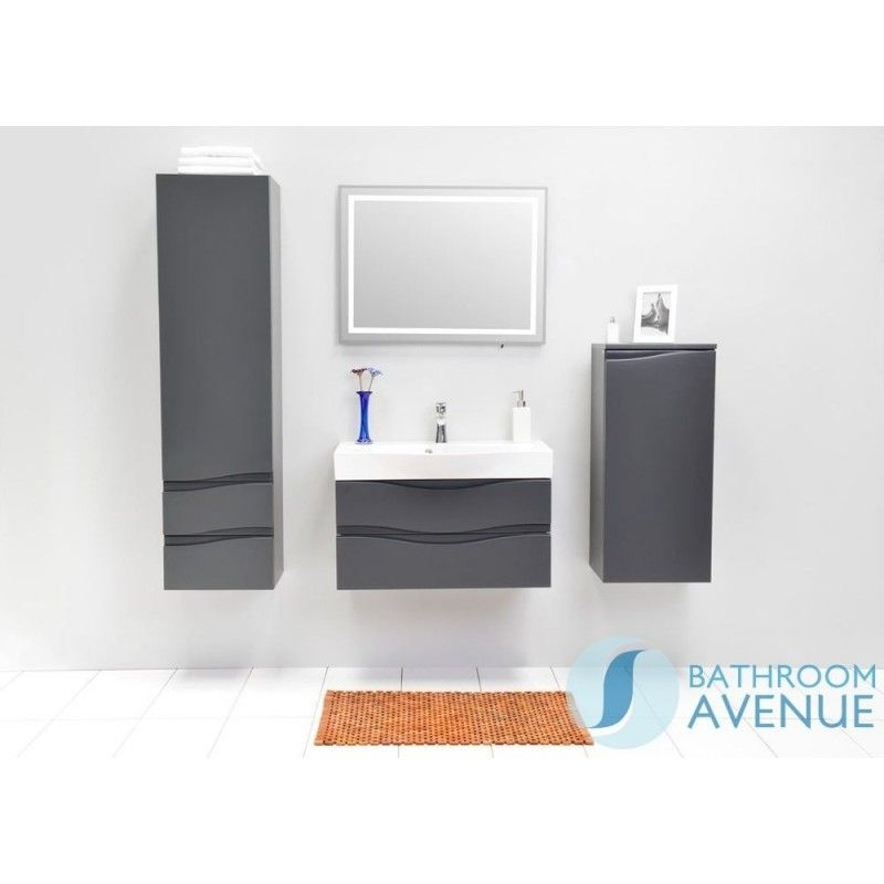 Modern Bathroom Wall Cabinet Graphite Mauricio  Bathroom Wall Storage Unit Graphite