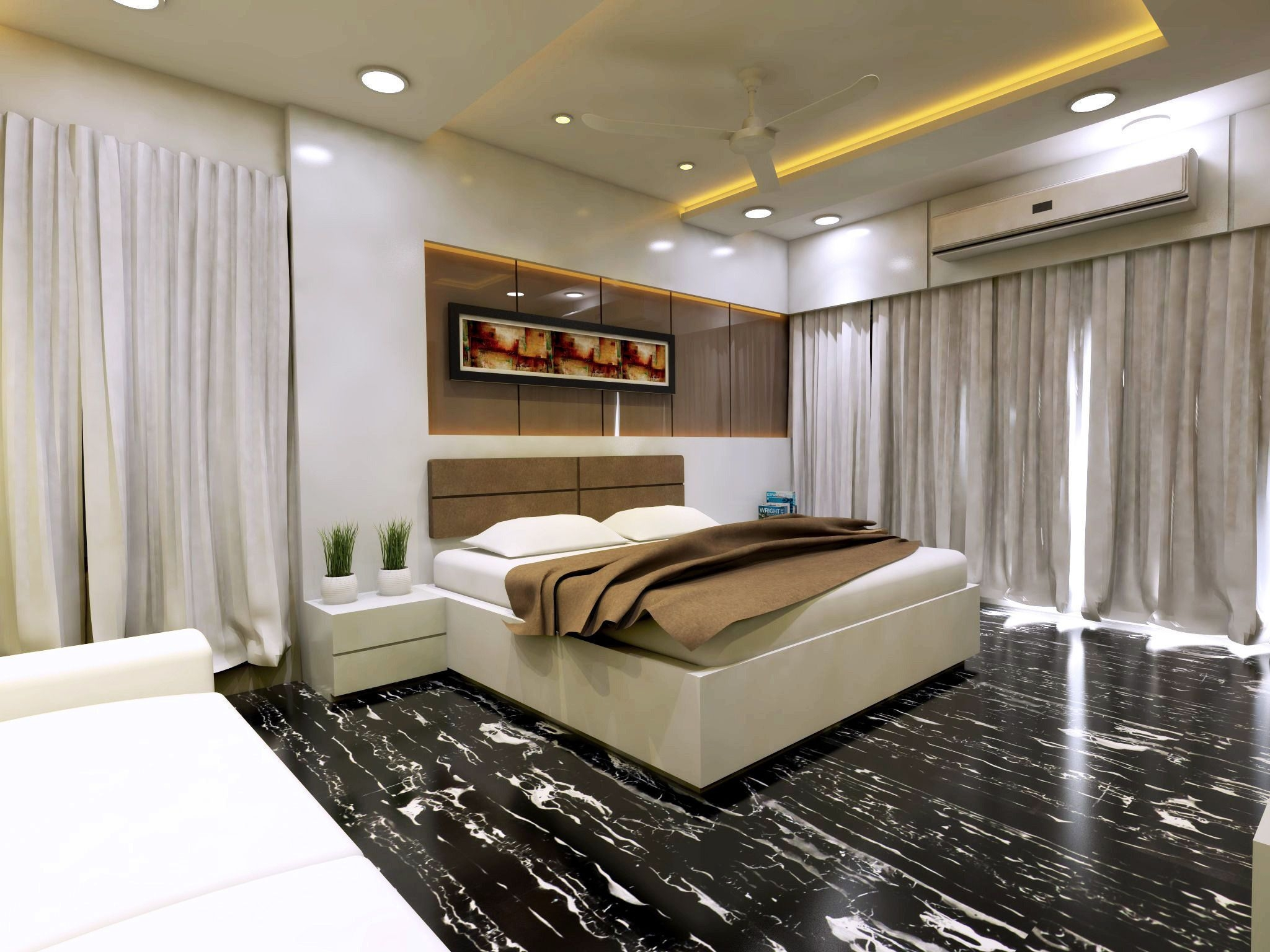 Modern Bedroom Interior Vray Rendered 3D Model  Cgtrader