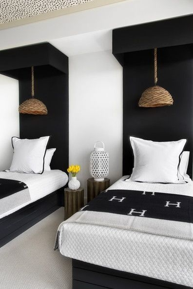 Modern Black  White Twin Bedroom Hermes Throw Blanket Straw Cane Pendant Light With Images