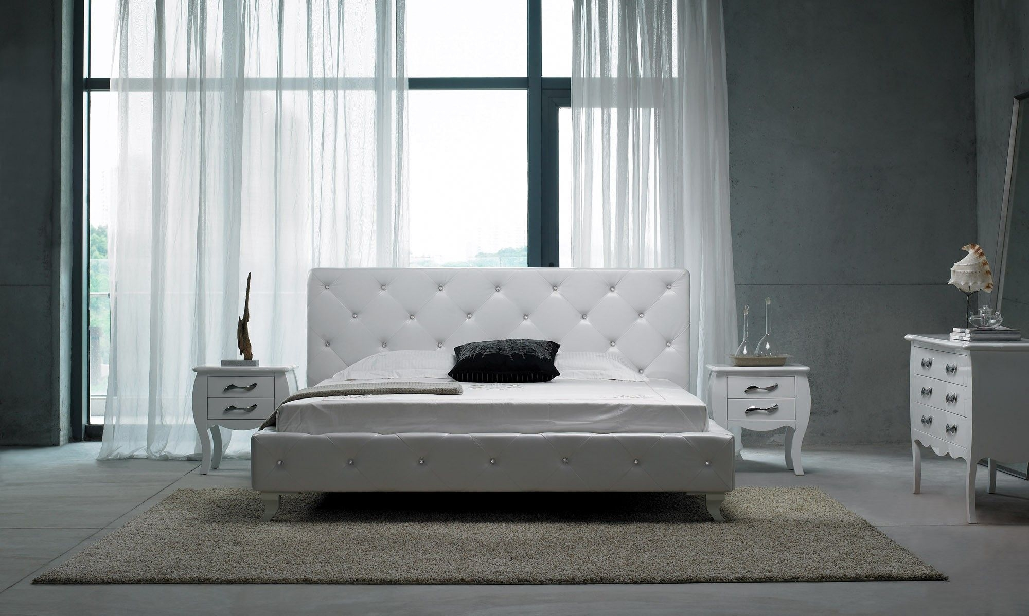 Modrest Monte Carlo Modern Leatherette Twin Bed With Crystals  Modern Bedroom  Bedroom