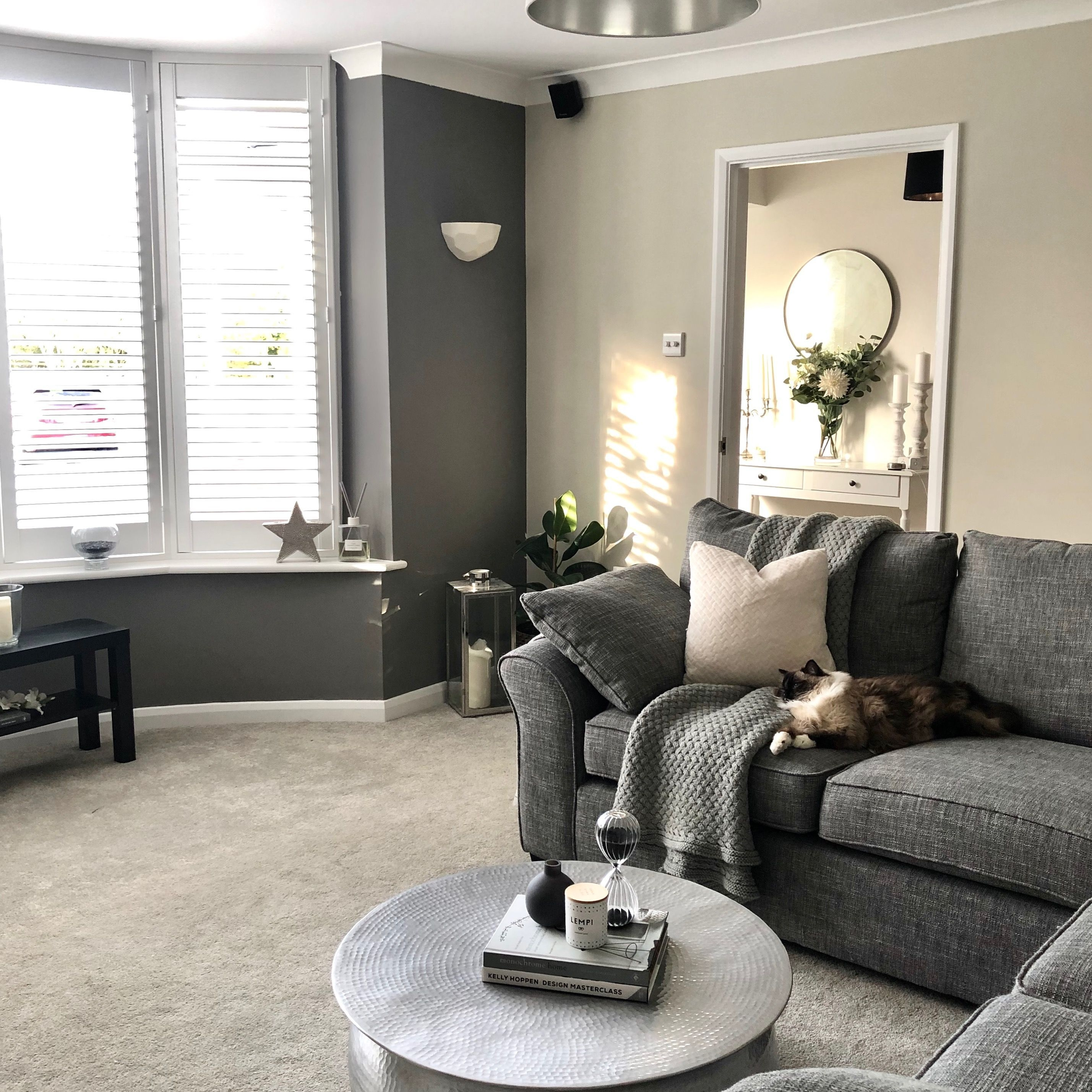 My Newly Redecorated Living Room With A Dark Grey Farrow And Ball Feature Wall In Colour M