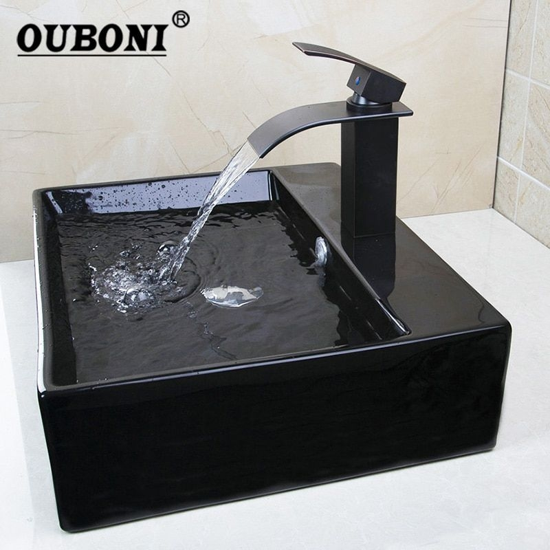 Ouboni Black Bathroom Sink Black Ceramic Washbasin Oil Bronze Basin Brass Faucet Bath Combine