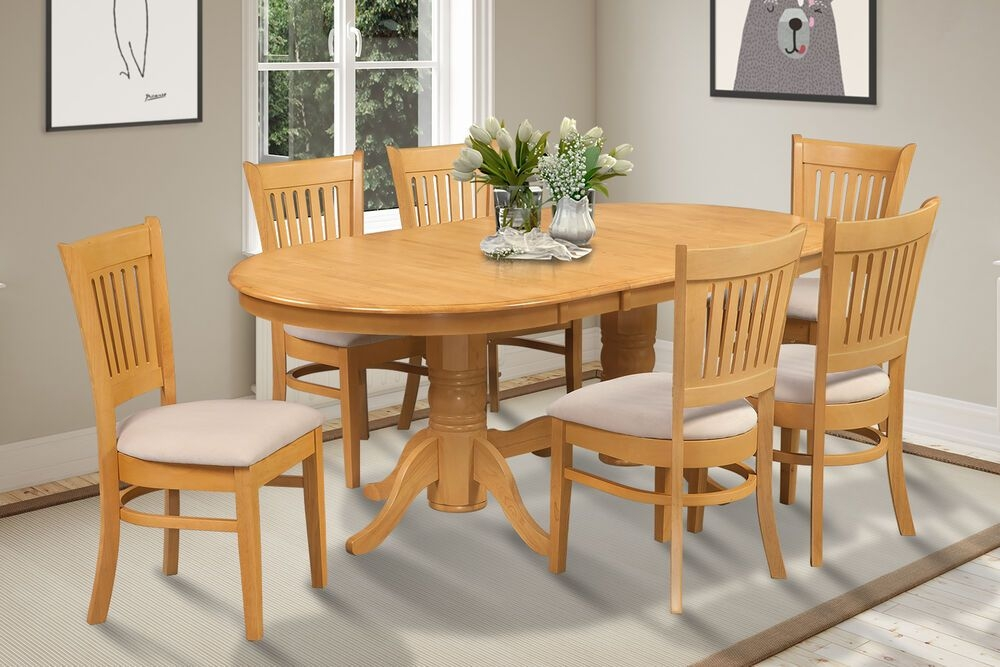 Oval Dinette Kitchen Dining Room Table Set With Softpadded Seat In Oak  Ebay