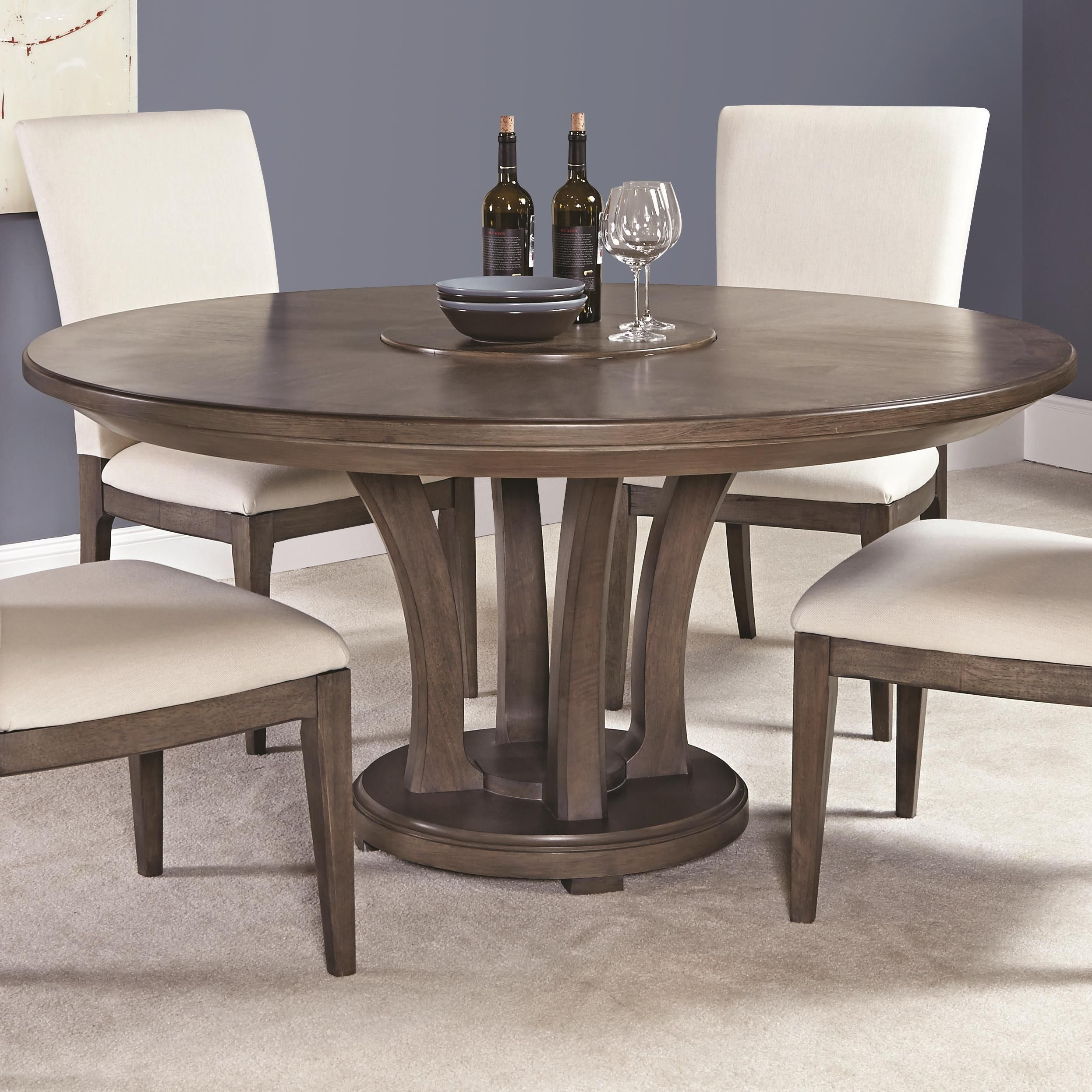 Park Studio Contemporary 62Inch Round Dining Table With Trestle Baseamerican Drew  Round