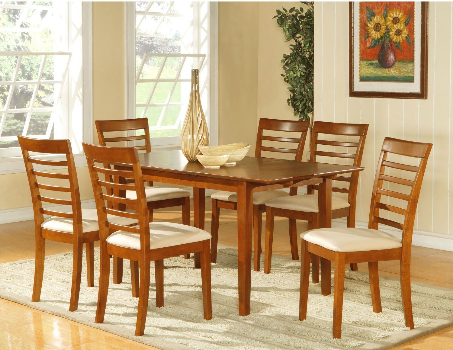 "Picasso 5Pc Rectangular Dinette Dining Table Set32""X 60"" With 12""Extension Leaf Sku Ps5Sbr"