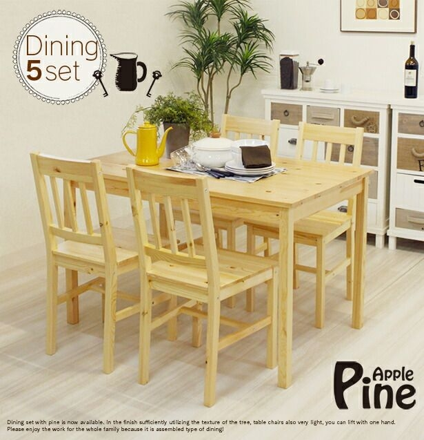Premiuminterior  Rakuten Global Market Scandinavian Dining Set Wooden Pine Dining 5 Piece Set