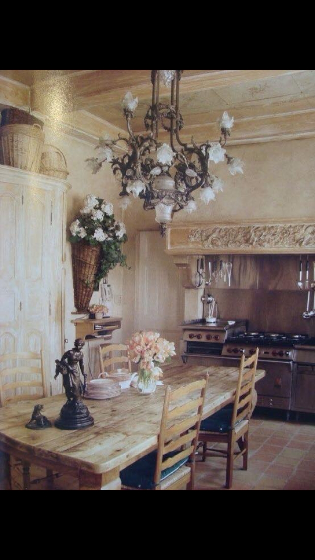Pretty Eating Area In A Grand Old Kitchen  French Country Kitchens Country Kitchen Designs