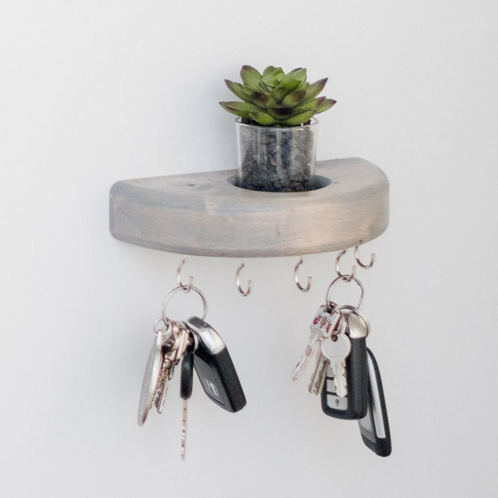 Round Key Holder For Wall Faux Succulent Planter Key Holder Wall Hooks Succulent Decor Wall