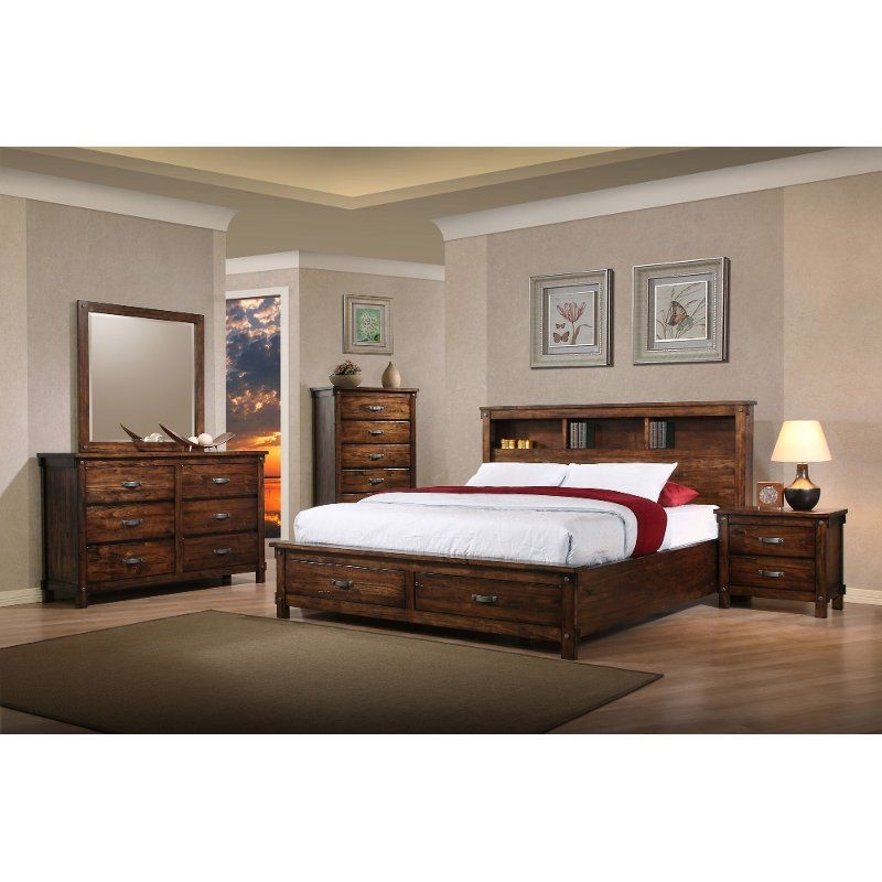Rustic Classic Brown 4 Piece King Bedroom Set  Jessie  Rc Willey Furniture Store