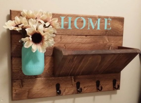 Rustic Home Decor Rustic Wall Decor Mail Holder Rustic Key Holder Home Sign Housewarming