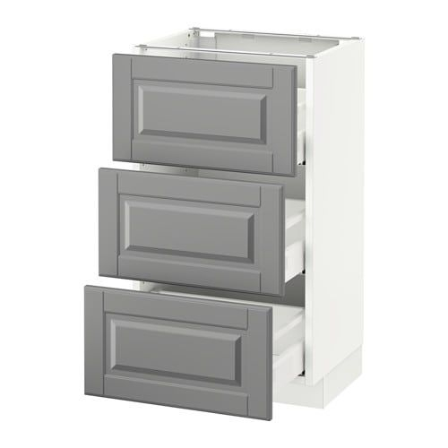 "Sektion Base Cabinet With 3 Drawers  Bodbyn Gray 18X15X30 ""  Ikea"