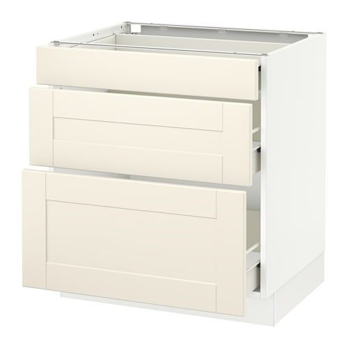 "Sektion Base Cabinet With 3 Drawers  Fö Grimslöv Offwhite 30X24X30 ""  Ikea"