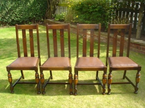 Set 4 Oak 1920'S High Back Dining Chairs Kitchen Chairs  126682  Sellingantiquescouk