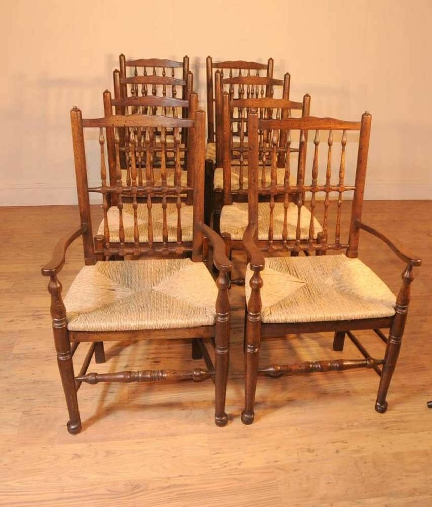 Set 8 Oak Spindleback Kitchen Dining Chairs Spindle Back  Ebay