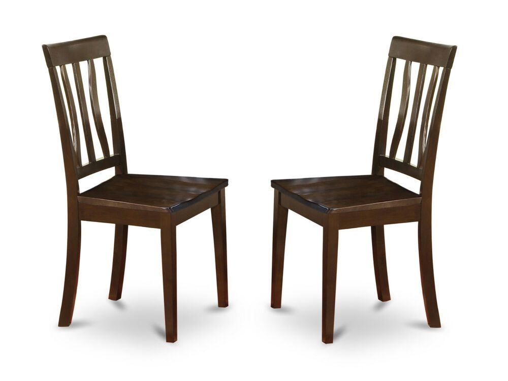 Set Of 2 Antique Dinette Kitchen Dining Chairs With Wood Seat In Cappuccino  Ebay