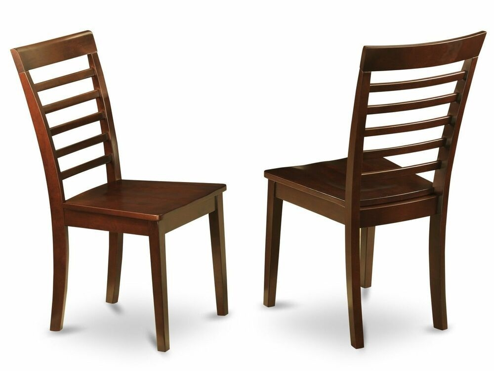 Set Of 2 Milan Dinette Kitchen Dining Chairs W Plain Wood Seat In Mahogany  Ebay