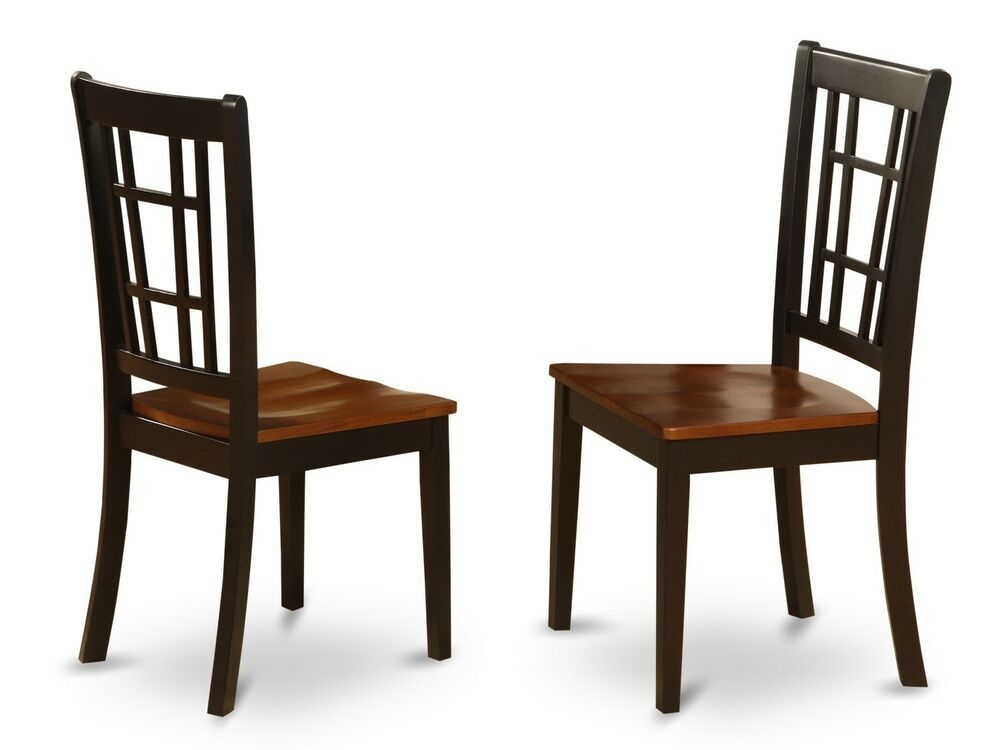 Set Of 2 Nicoli Dinette Kitchen Dining Chairs W Plain Wood Seat Black  Cherry  Ebay