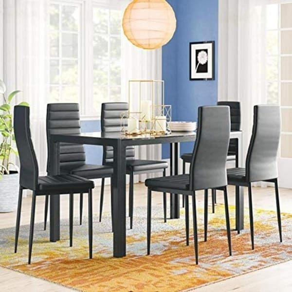 Shop 7 Piece Kitchen Room Furni Glass Top Dining Table Set W6 Leather Chairs  On Sale  Free