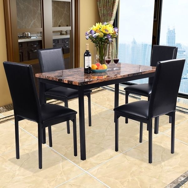 Shop Costway 5 Pc Dining Set Faux Marble Table And 4 Chairs Kitchen Dining Room Furniture  Free