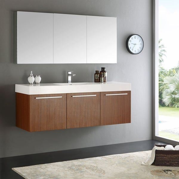 Shop Fresca Vista Teak 60Inch Wallhung Singlesink Modern Bathroom Vanity With Medicine