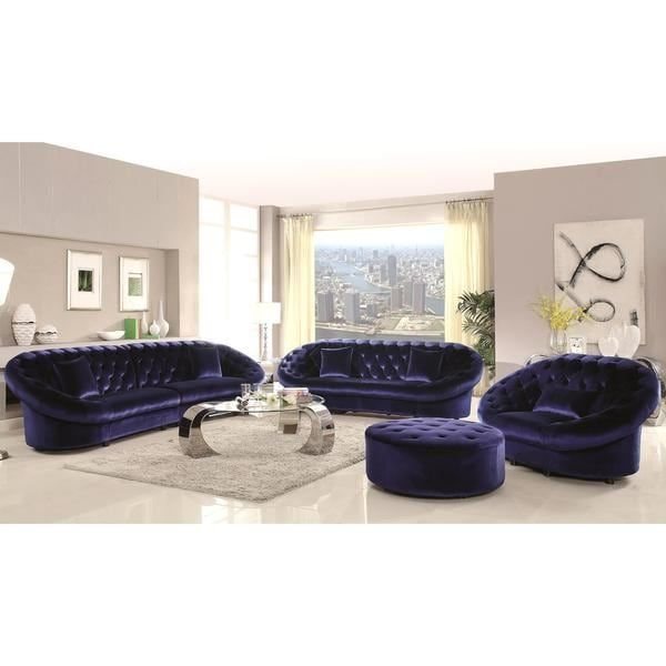 Shop Xnron Cradle Design Royal Blue Velvet Tufted Living Room Collection  Free Shipping Today