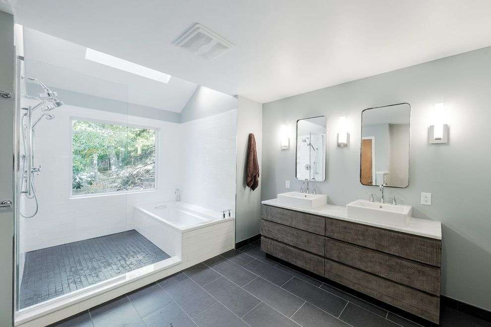 Sleek Modern Master Bathroom  Contemporary  Bathroom  New York Skydell Contracting Inc