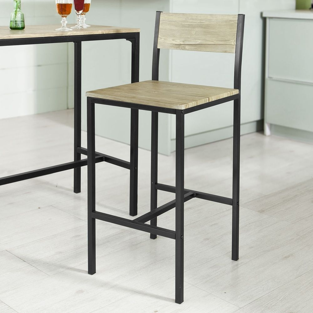 Sobuy® Kitchen Dining Breakfast Bar Table And 2 High Chairs Stools Setogt03 Uk 6900021350570