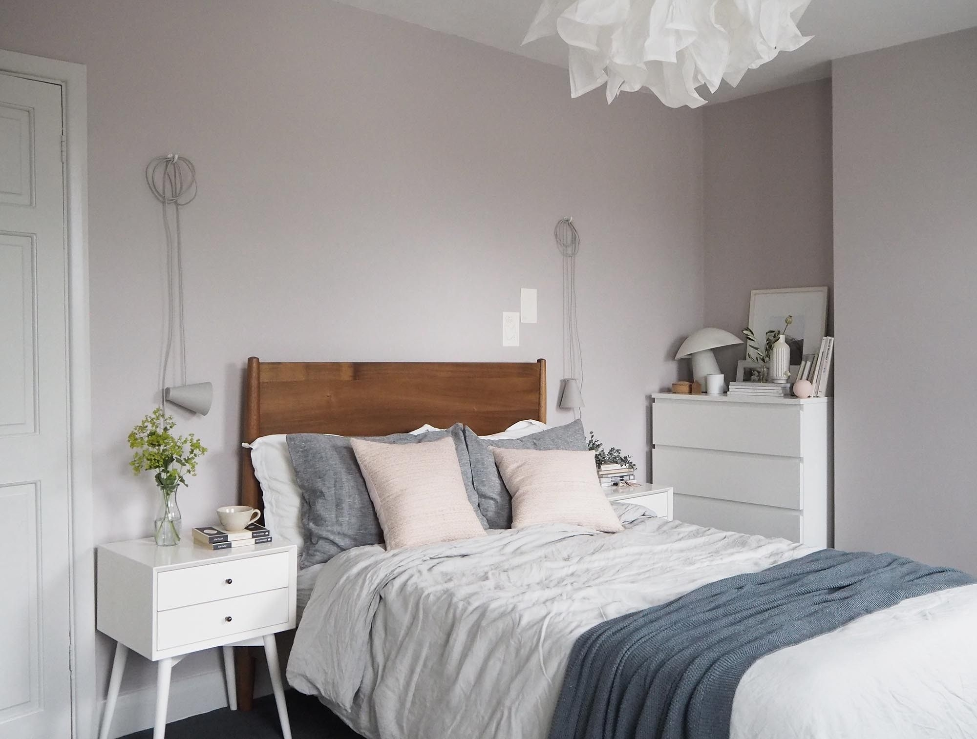 Soft Blush Pink Bedroom Reveal Before  After  Farrow  Ball Peignoir  West Elm Midcentury
