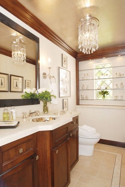 Stained Wood Crown Molding Design Pictures Remodel Decor And Ideas  Powder Room Powder Room