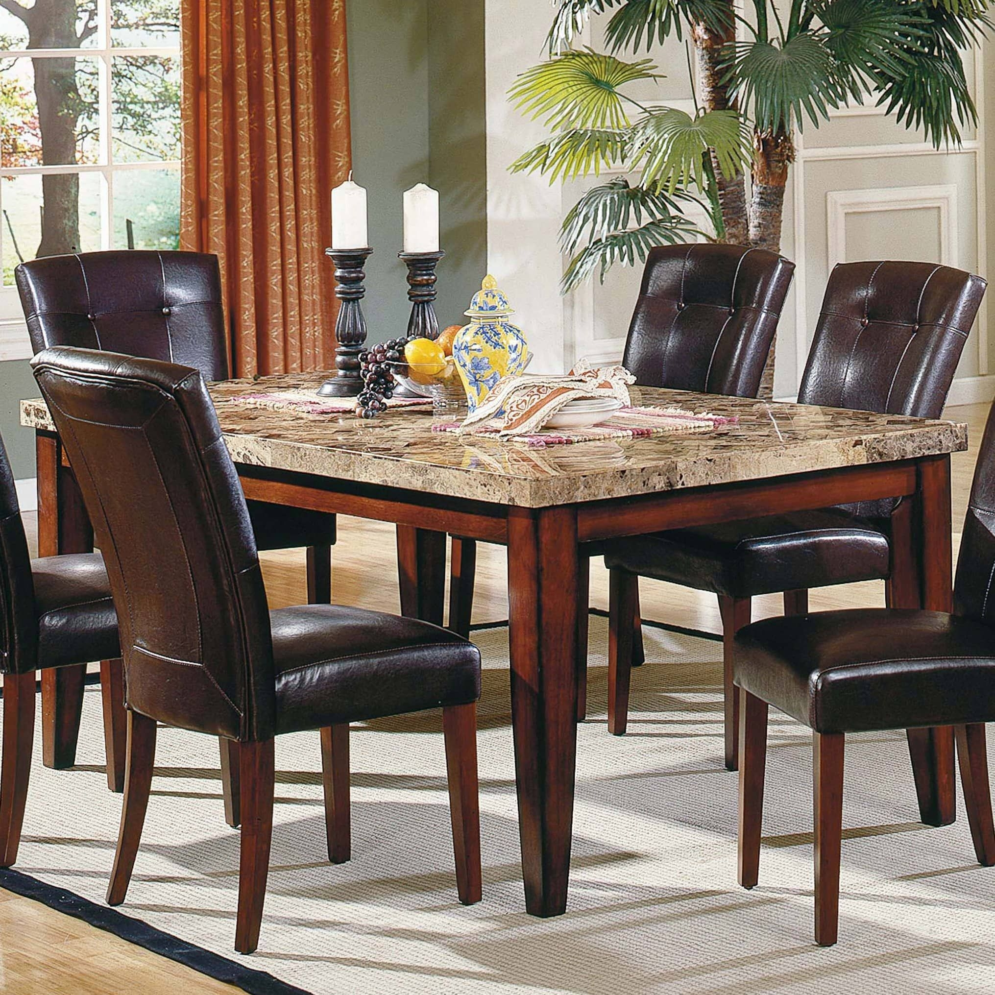 Steve Silver Montibello 5Piece Marble Top Rectangular Dining Table Set  Dining Table Sets At