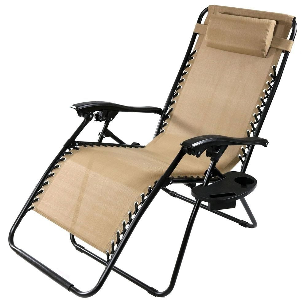 Sunnydaze Decor Oversized Khaki Zero Gravity Sling Patio Lounge Chair With Cupholderdl793