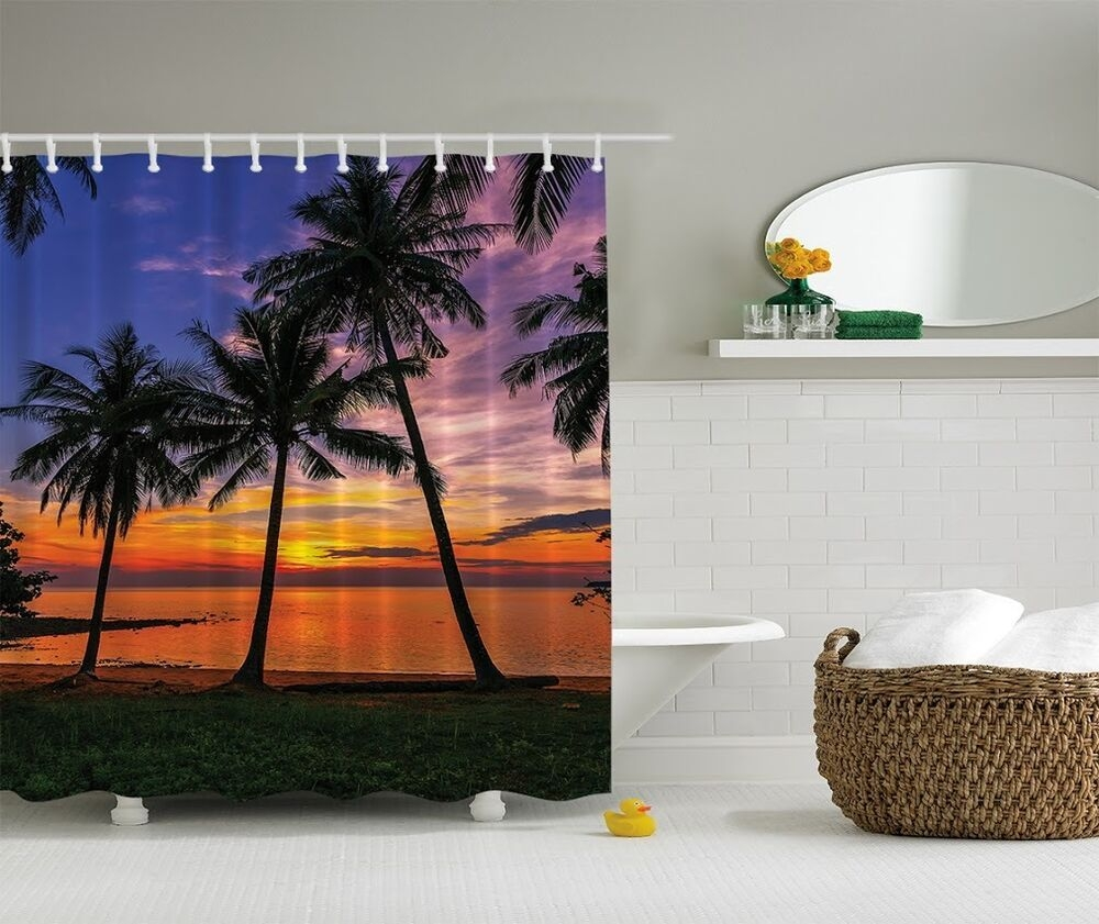 Tropical Island Palm Trees Digital Print Shower Curtain Ocean Sunset Bath Decor  Ebay