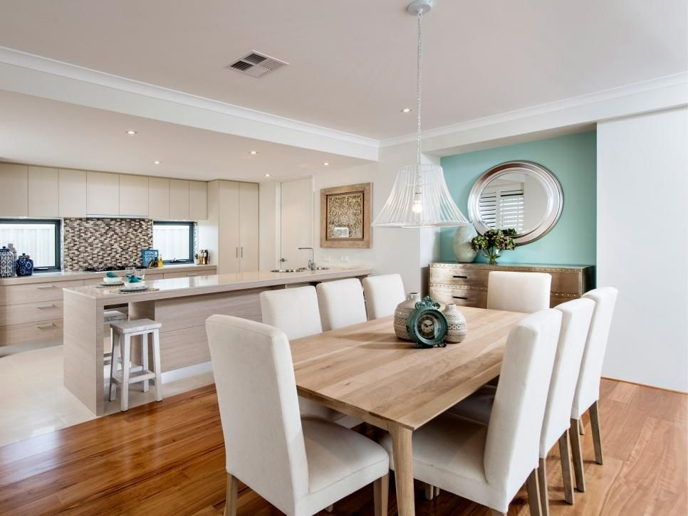 Warm Wood In The Eating Space — And Color A Soft Bluegreen Accent Wall Helps…  Open Concept