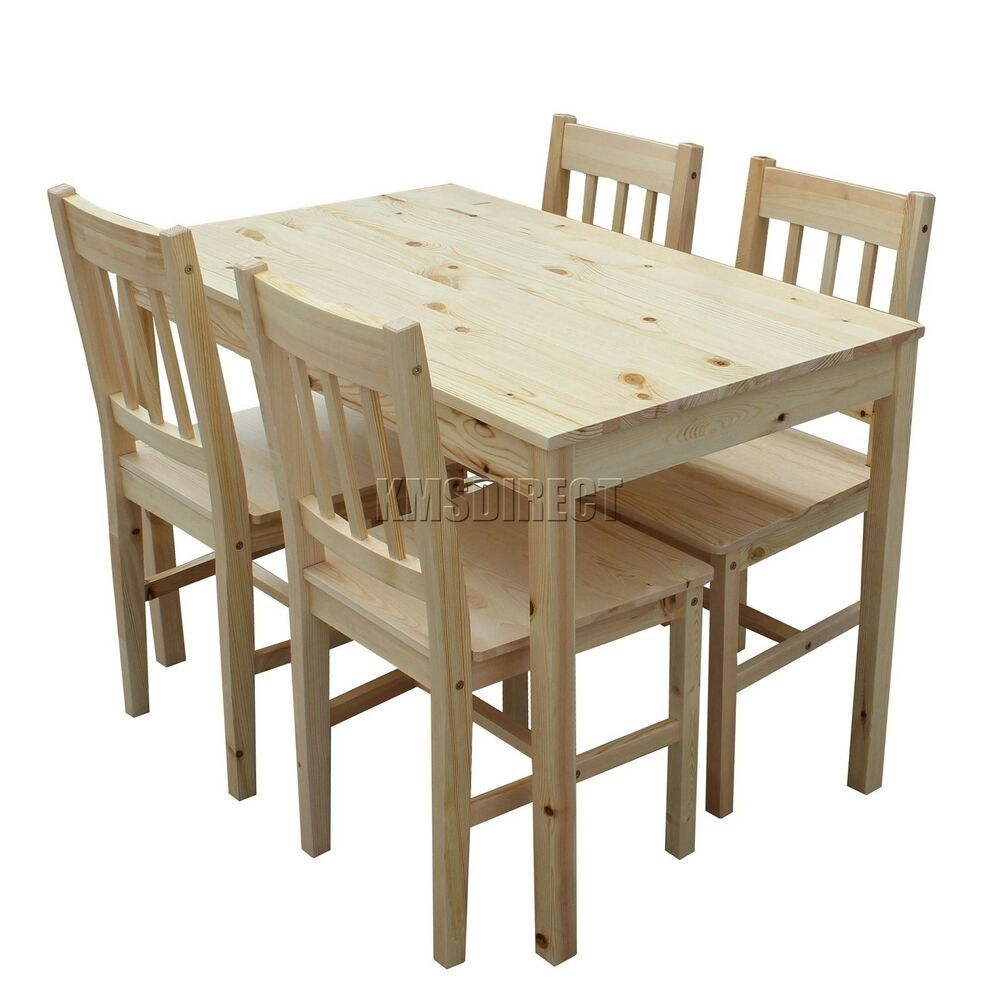 Westwood Quality Solid Wooden Dining Table And 4 Chairs Set Kitchen Ds02 Pine 5055418323673  Ebay