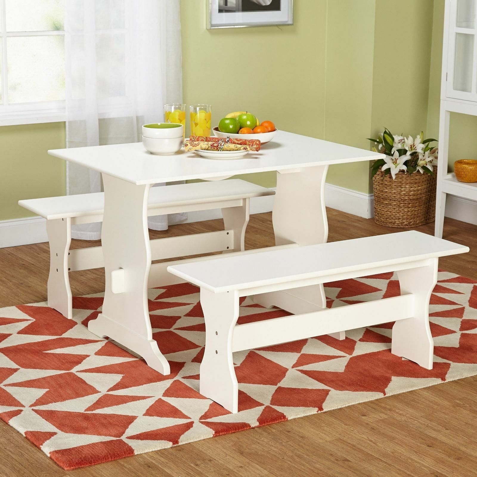 White 3 Pc Dining Set Wooden Kitchen Nook Breakfast Table Bench Family Dinette  Dining Sets