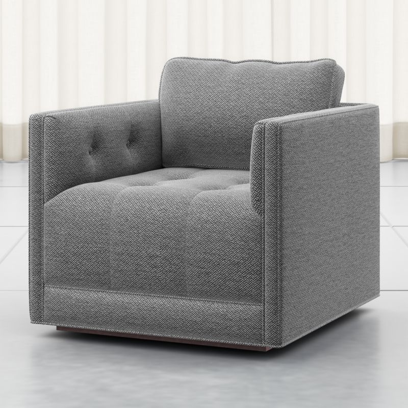 Wylie Grey Tufted Swivel Chair  Crate And Barrel In 2020  Oversized Chair Living Room Swivel
