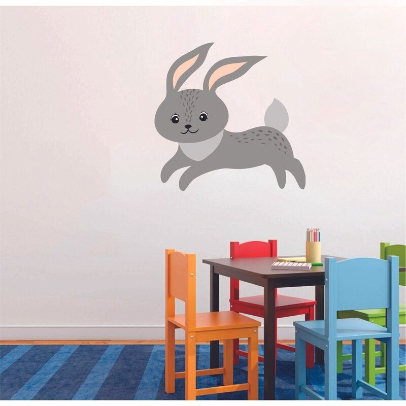 Zoomie Kids Running Grey Rabbit Cute Animal Cartoon Wall Art Decal Vinyl Sticker Girls Boys Room